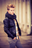 Handsome fashionable man outdoor Stock Images