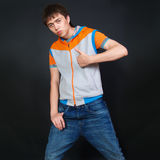 Handsome fashionable man in  t-shirt and jeans Stock Photos