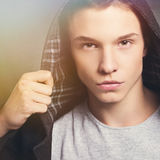 Handsome fashionable young man in winter Stock Photos