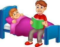 Handsome father cartoon read her son a bedtime fairy tale. Vector illustration of handsome father cartoon read her son a bedtime fairy tale Royalty Free Stock Photos