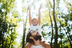 Handsome father and his little son walking in the forest. Boy is sitting on the shoulders of his father and keeps a stock photography