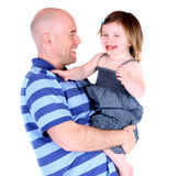 Handsome father sharing a laugh with toddler child. Isolated on white Royalty Free Stock Photo