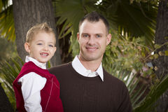 Handsome Father and Son in the Park Royalty Free Stock Photography
