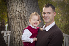 Handsome Father and Son in the Park Stock Image