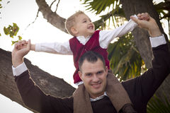 Handsome Father and Son in the Park Royalty Free Stock Photo