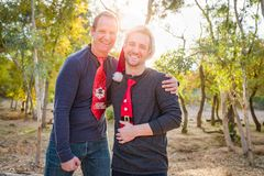 Handsome Festive Father and Son Portrait Outdoors stock photo