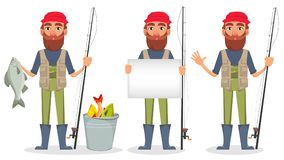 Handsome fisher, cheerful cartoon character. Fisher cartoon character, set of three poses. Fishermen with caught fish, with blank placard and with fishing rod Stock Images