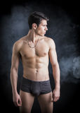 Handsome, fit shirtless young man wearing only underwear Stock Image