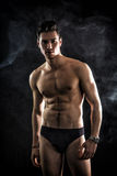 Handsome, fit young man wearing only underwear royalty free stock photo