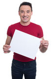 Handsome fitness instructor shows blank banner Royalty Free Stock Image
