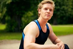 Handsome Fitness Man at the Park Royalty Free Stock Images
