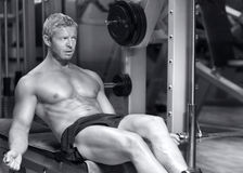 Handsome fitness model in black and white Stock Image