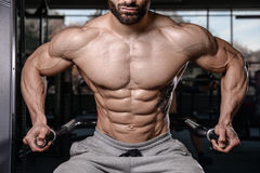 Handsome fitness model train in the gym gain muscle Stock Photo