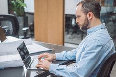 Handsome focused architect working with laptop. At office stock photos