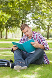 Handsome focused student sitting on grass studying Stock Photo