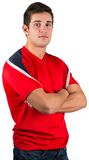 Handsome football fan in red jersey Stock Image