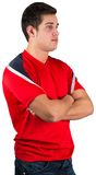 Handsome football fan in red jersey Stock Images