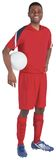 Handsome football player in red jersey Royalty Free Stock Photography