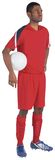 Handsome football player in red jersey Royalty Free Stock Photo