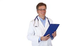 Handsome friendly physician holds medical record Royalty Free Stock Image