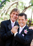 Handsome Gay Couple on Wedding Day. Handsome gay couple pose for protrait on their wedding day Royalty Free Stock Image