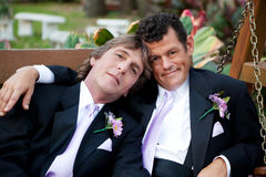 Handsome Gay Wedding Couple royalty free stock images