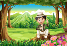 A handsome gentleman sitting above the stump at the forest. Illustration of a handsome gentleman sitting above the stump at the forest Royalty Free Stock Image
