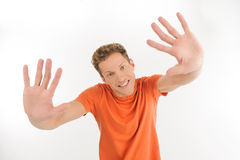 Handsome gesturing Stock Image