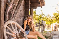 Handsome girl in the old village Stock Photography