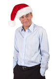 Handsome Grinning Man in Santa Hat Stock Photo