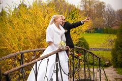 Handsome groom and bride looking at sky on bridge Stock Photography