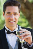 Handsome groom drinking champagne in garden Stock Photos