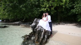 Handsome groom embraces brunette bride sitting on rock. And she points to something at background of beach and tree stock video footage