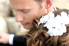 Handsome groom with eyes closed Royalty Free Stock Photography