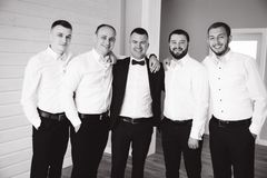 Handsome groom with his groomsman at home. Five man. Groom dressed in suit, gromsmen in white shirt. Funny guys on the. Wedding royalty free stock image