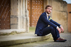 Handsome groom on his wedding day Royalty Free Stock Images
