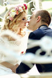 Handsome groom kissing blonde beautiful bride in magical fairy t. Ale carriage close-up Royalty Free Stock Photos