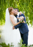 Handsome groom passionately kissing bride under tree Royalty Free Stock Photo