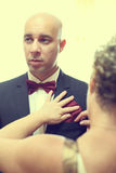 Handsome groom preparing for his wedding day Royalty Free Stock Photos