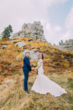 Handsome groom in stylish blue suit holding hands of his charming white dressed bride on idyllic rocky landscape as Stock Photo