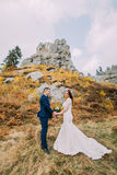 Handsome groom in stylish blue suit holding hands of his white dressed bride on idyllic rocky landscape as backround Stock Photo
