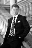 Handsome groom in suit Royalty Free Stock Photo