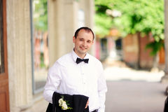 Handsome groom at wedding coat Royalty Free Stock Photos
