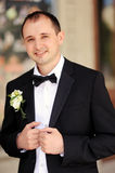 Handsome groom at wedding coat Stock Photography