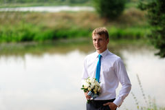 Handsome groom at wedding coat Royalty Free Stock Image