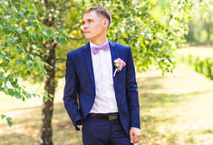 Handsome groom at wedding tuxedo. royalty free stock image