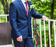 Handsome groom at wedding waiting for bride Royalty Free Stock Photos