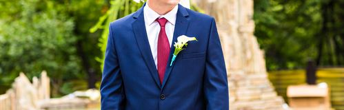 Handsome groom at wedding waiting for bride Stock Photos