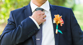 Handsome groom at wedding waiting for bride Royalty Free Stock Photo