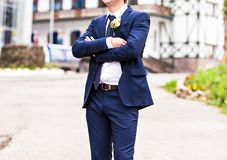 Handsome groom at wedding waiting for bride Royalty Free Stock Photography